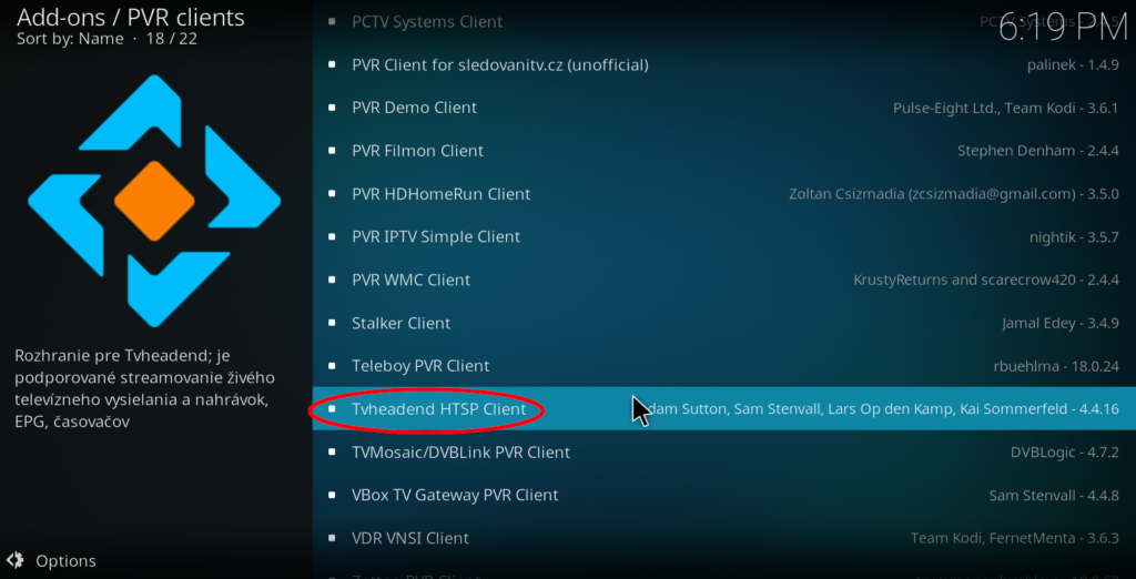 Setup Kodi to use Tvheadend backend - NIL - Network Information Library