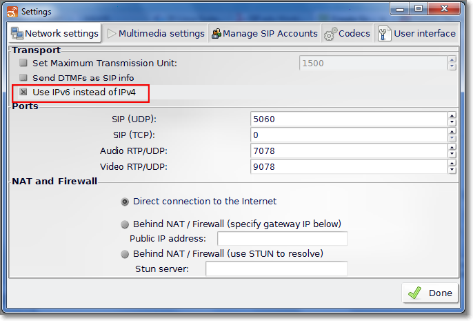 Configuring Linphone to use SIP over IPv6 - NIL - Network
