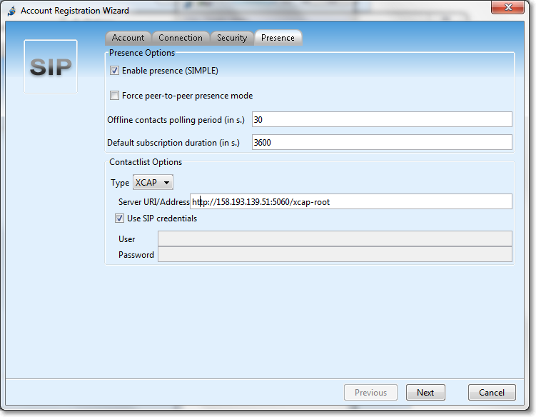 Configuring XCAP support for IM and presence over kamailio