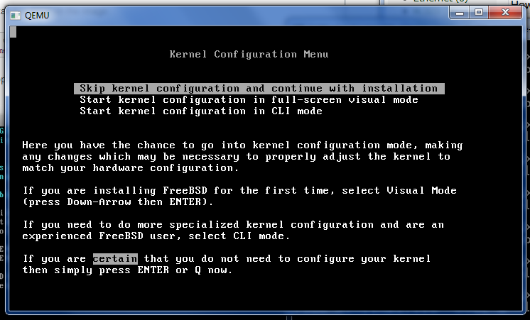 Installing FreeBSD for JunOS Olive using Qemu under Win 7