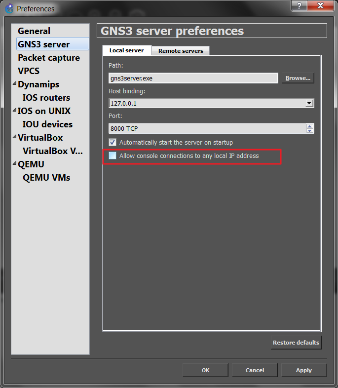 How to connect from remote location to a GNS3 router console
