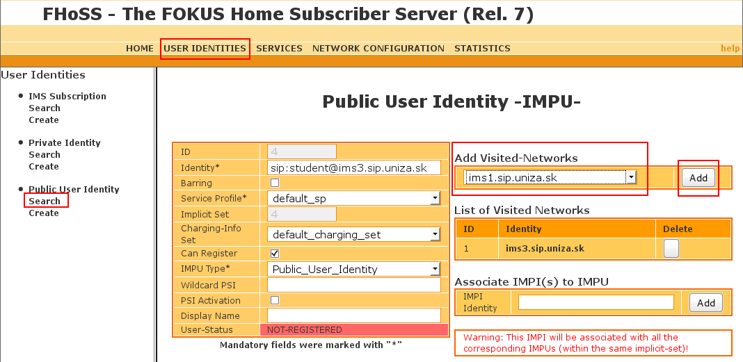 How to enable roaming in IMS platform using the HSS web GUI