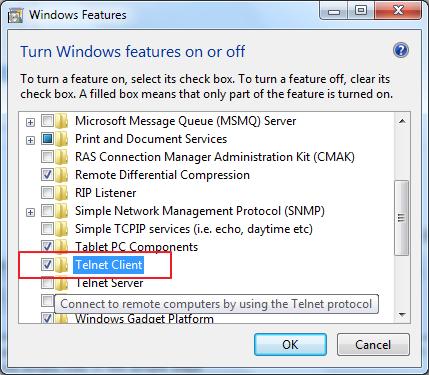Enabling default Telnet client on Windows 7 operating system